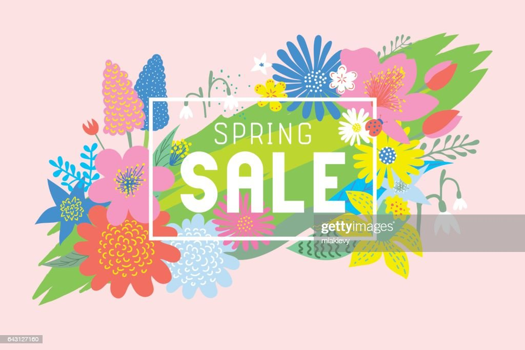 Spring sale flowers bloom : Vector Art
