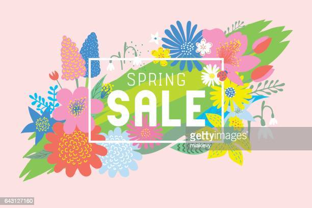 spring sale flowers bloom - springtime stock illustrations, clip art, cartoons, & icons