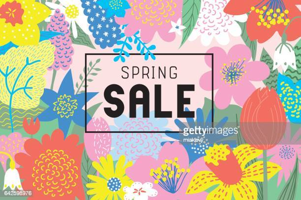 spring sale flowers blooming - springtime stock illustrations