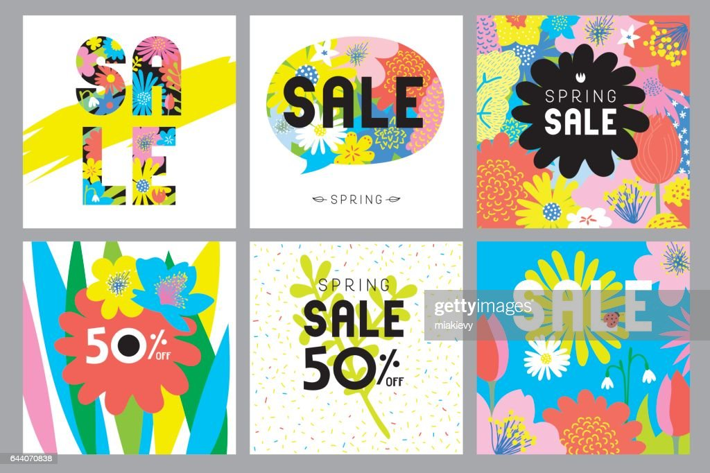 Spring sale flowers cards : Vector Art