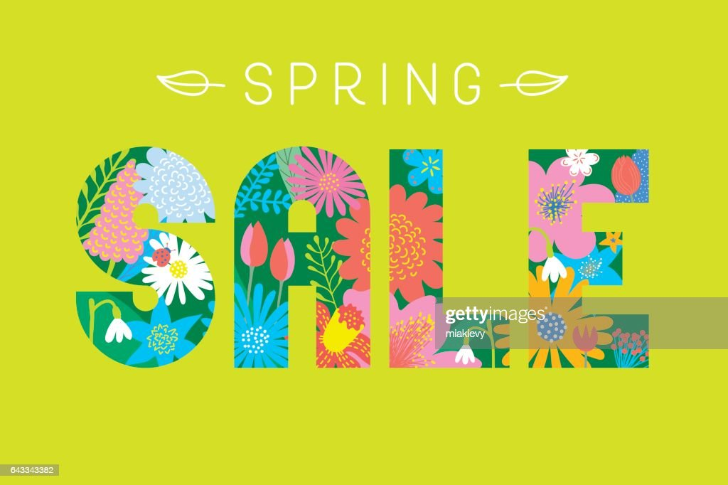 Spring sale flowers font : Vector Art