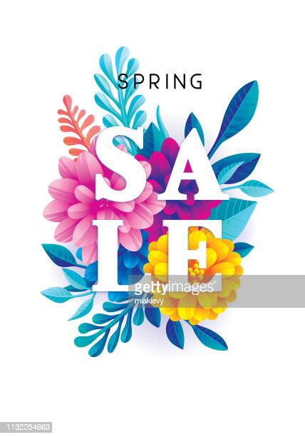 spring sale flowers - flower stock illustrations