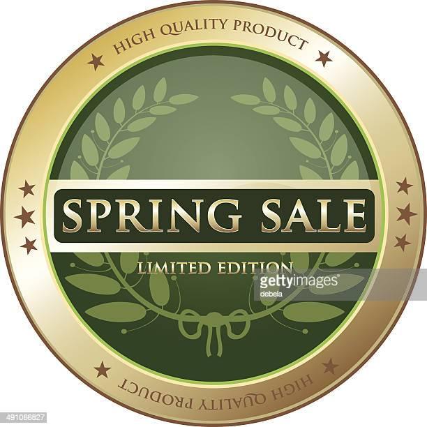 春セールグリーンのラベル - 限定版点のイラスト素材/クリップアート素材/マンガ素材/アイコン素材