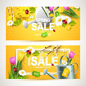 Spring sale headers or banners
