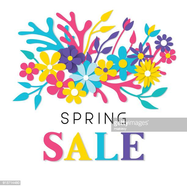 spring sale paper cut flowers - springtime stock illustrations