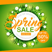 Spring sale vector background with green grass and flowers