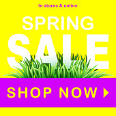 Spring sale vector background with green grass