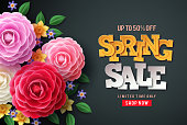 Spring sale vector flowers background. Spring sale text, colorful camellia flowers