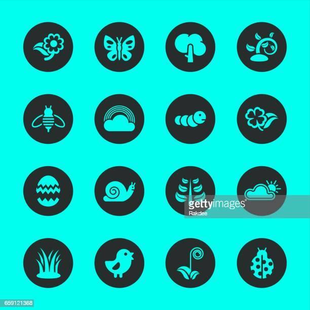 Spring Season Icons - Black Circle Series
