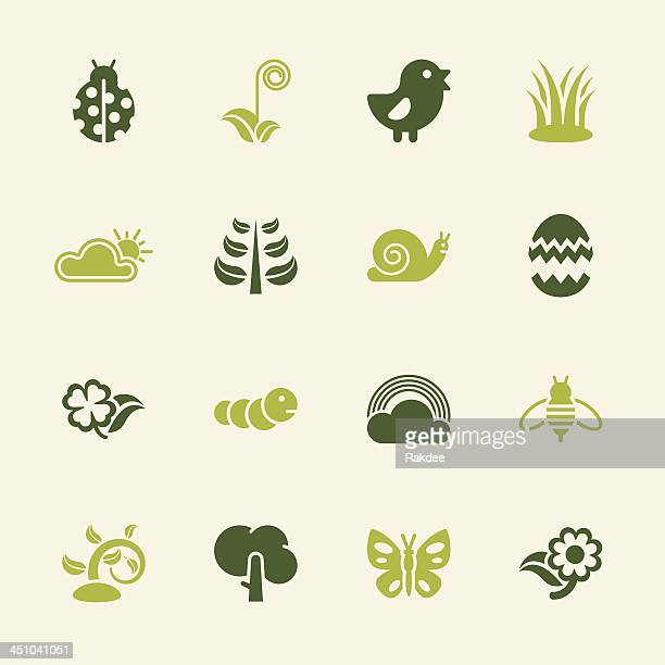 illustrations, cliparts, dessins animés et icônes de printemps icônes-série couleur/eps10 - escargot