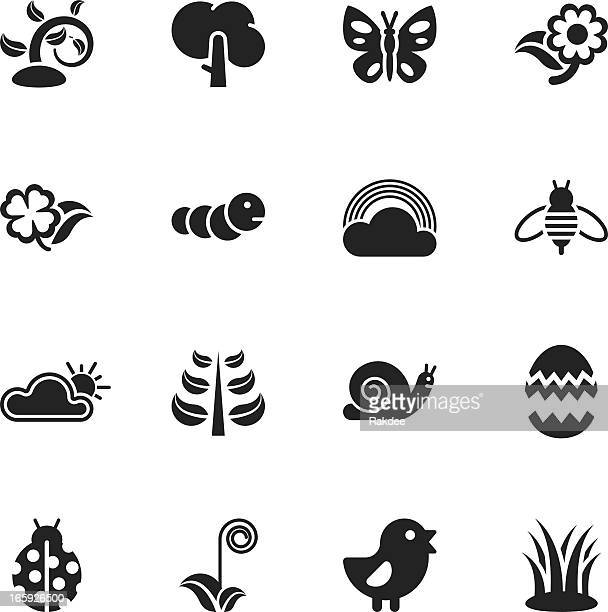 spring season silhouette icons - bumblebee stock illustrations, clip art, cartoons, & icons