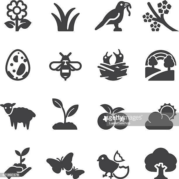 spring silhouette icons | eps10 - birds nest stock illustrations