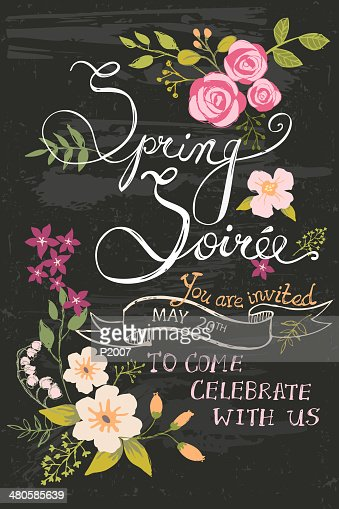 spring soiree chalkboard vector art getty images