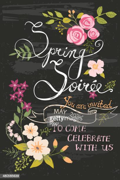 spring soiree chalkboard - chalk art equipment stock illustrations, clip art, cartoons, & icons