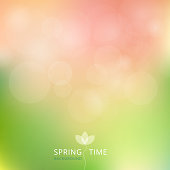 Spring summer autumn green and pink color tone with bokeh background.