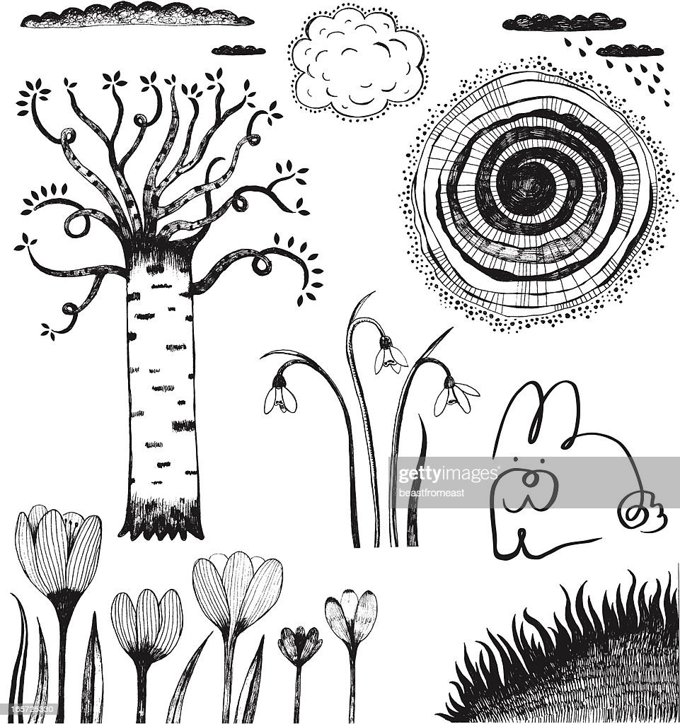 Spring theme doodles of birch, crocuses, grass, bunny and clouds