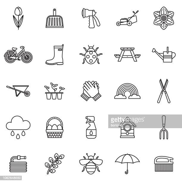 spring thin line outline icon set - setting stock illustrations