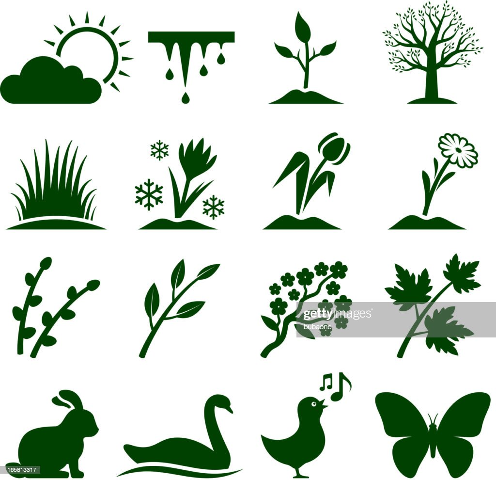 Spring time royalty free vector icon set. : stock illustration