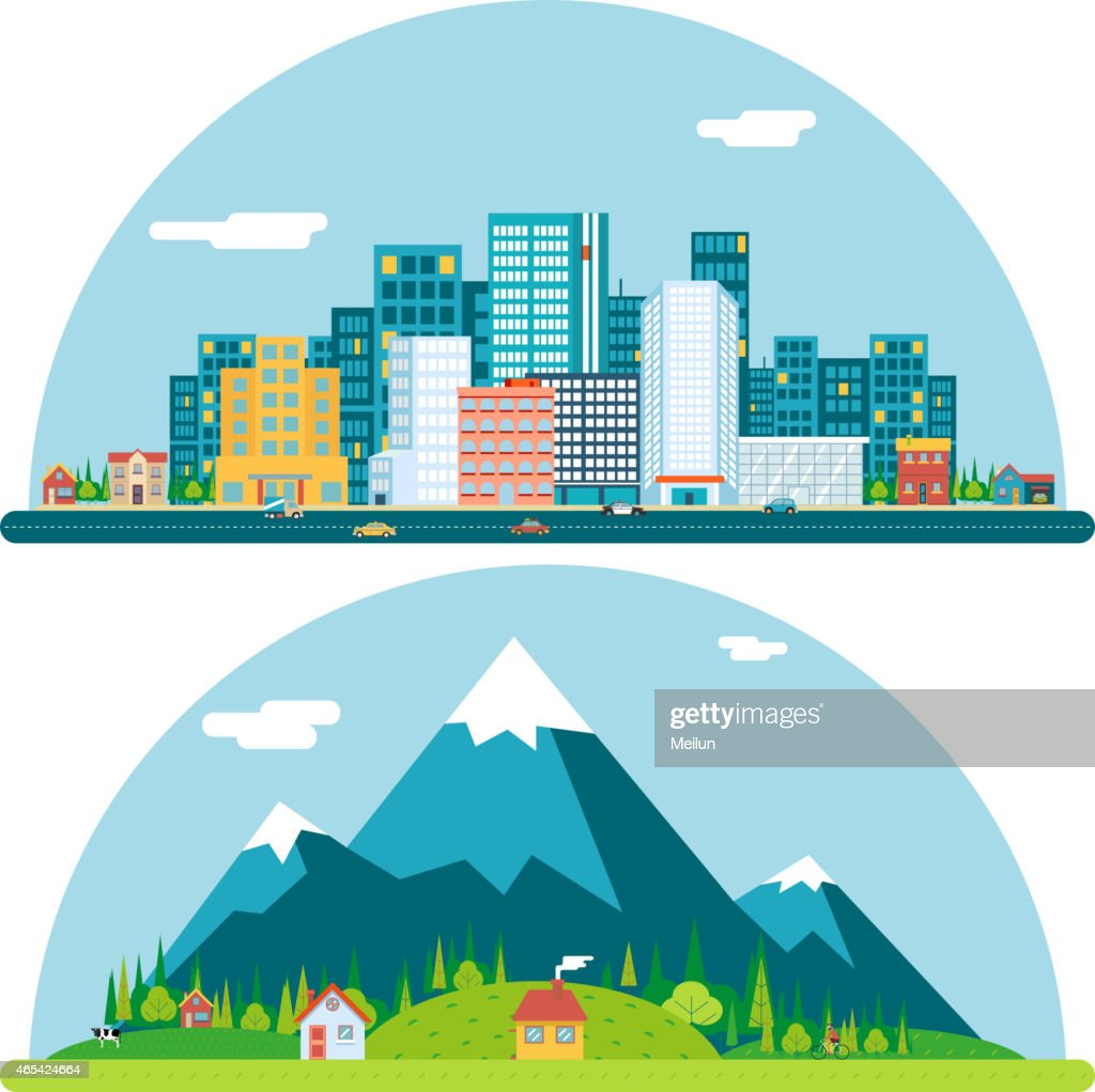 Spring Urban and Countryside Landscape City Village Real Estate Summer