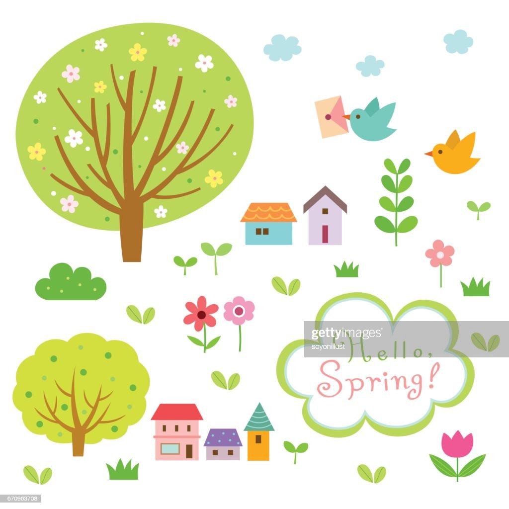 Spring village and nature elements set