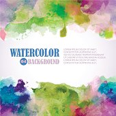Spring Watercolor background with place for text. Green, pink, violet, blue colors.