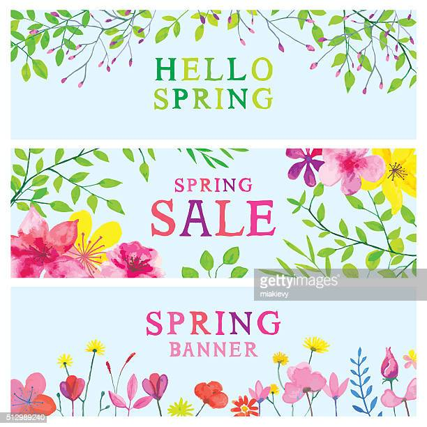 spring watercolor banners - springtime stock illustrations, clip art, cartoons, & icons