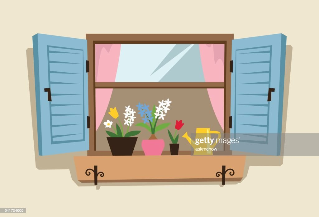 Ventana de resorte : Ilustración de stock