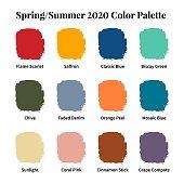 Spring/Summer 2020 Color Palette. Color swatch concept modern style. Color palette guide. Fashion trend. Design guide, catalogue. Vector illustration.