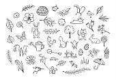 springtime easter outlined hand drawn simple childlike doodles set