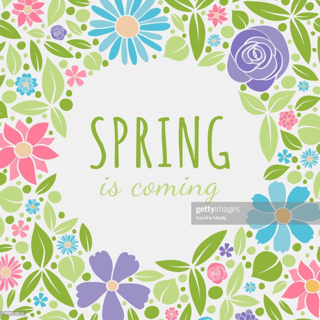 Springtime - pastel coloured poster. Vector.