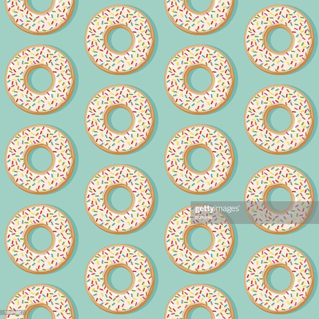 Sprinkle Donut Seamless Pattern : stock illustration