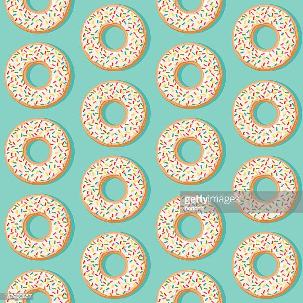 sprinkle donut seamless pattern - donut stock illustrations, clip art, cartoons, & icons