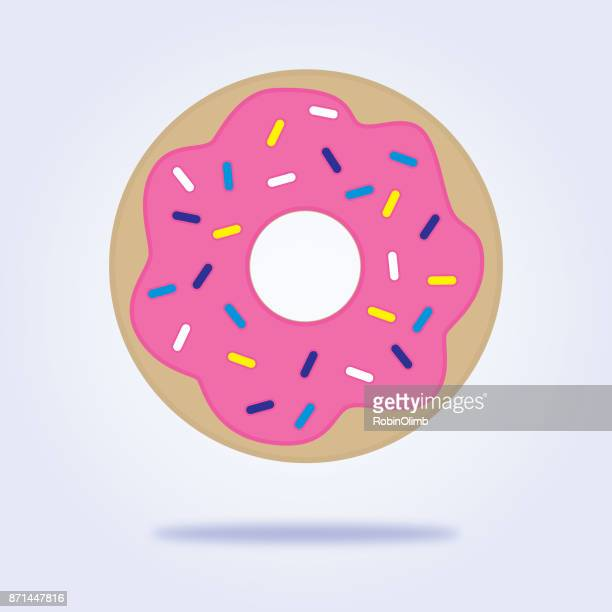 sprinkled donut icon - donut stock illustrations, clip art, cartoons, & icons