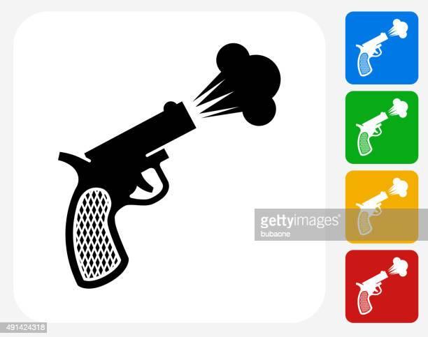 stockillustraties, clipart, cartoons en iconen met sprint start gun icon flat graphic design - military