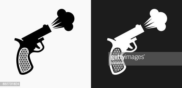 Sprint Start Gun Icon on Black and White Vector Backgrounds