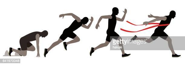 sprinter leaving on the running track. explosive start, vector illustration - track and field stock illustrations, clip art, cartoons, & icons