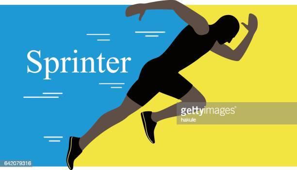 ilustrações de stock, clip art, desenhos animados e ícones de sprinter leaving on the running track. explosive start, vector illustration - sprint