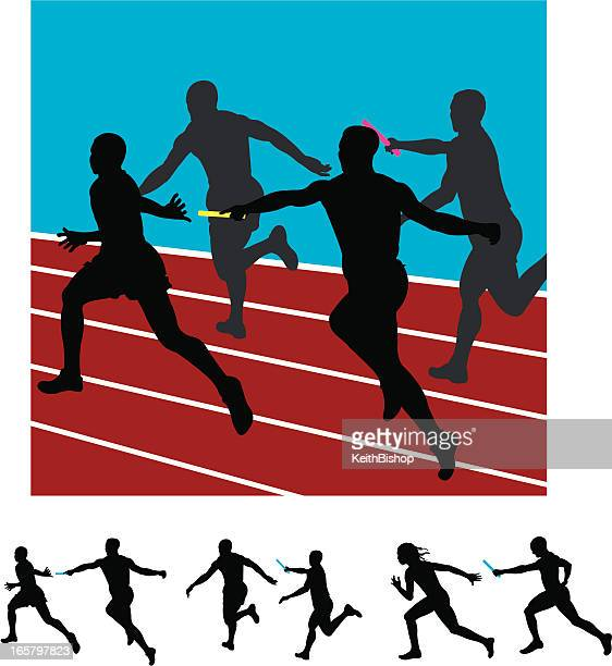 sprinters relay race track meet runners - track and field stock illustrations, clip art, cartoons, & icons
