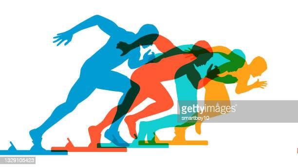sprinter silhouetten - sprint sport wettbewerbsform stock-grafiken, -clipart, -cartoons und -symbole