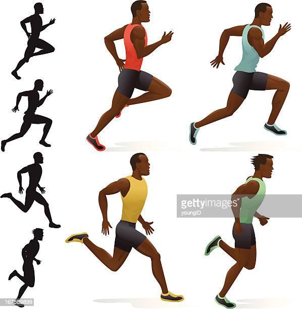 ilustraciones, imágenes clip art, dibujos animados e iconos de stock de sprinters - deportista