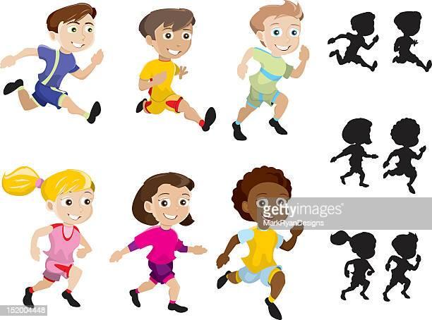 ilustraciones, imágenes clip art, dibujos animados e iconos de stock de esprint niños - salto de longitud