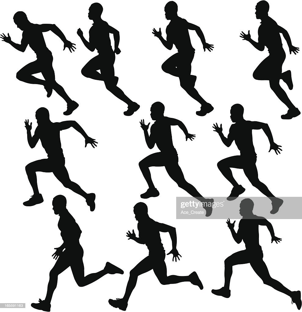sprinting runner silhouette collection : stock illustration