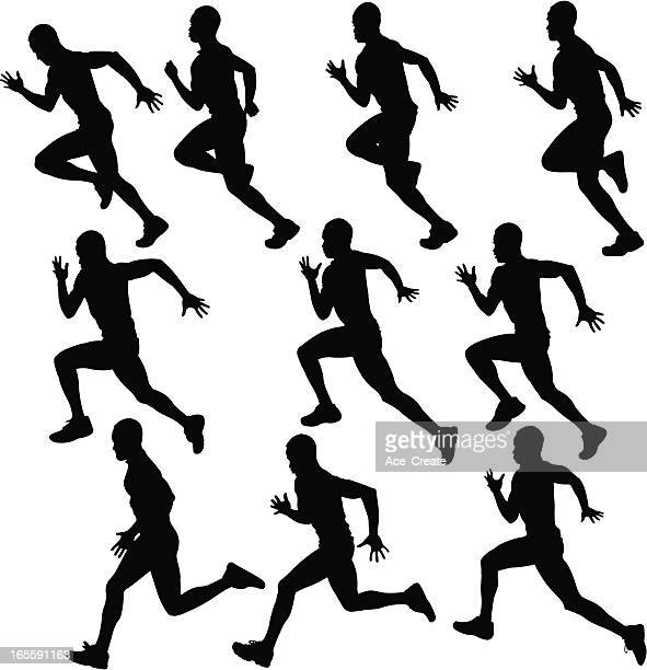 sprinting runner silhouette collection - sportsperson stock illustrations