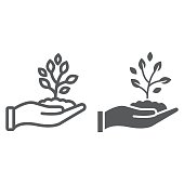 Sprout in hand line and glyph icon, farming and agriculture, plant care sign vector graphics, a linear pattern on a white background, eps 10.