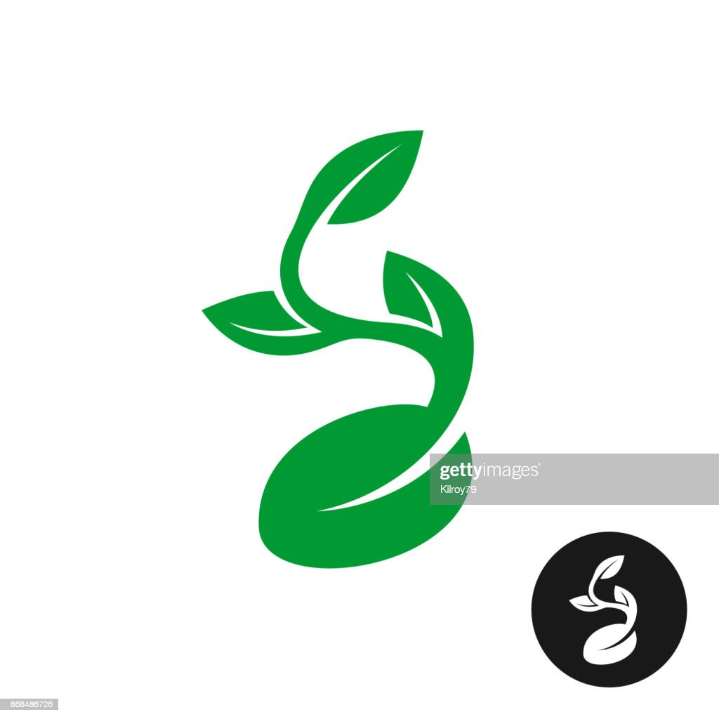 Sprout symbol. One shape style plant with seed and green leaves ve