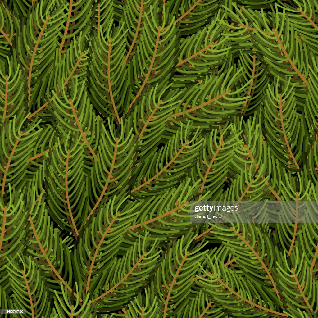 Spruce branch background. FIR branch seamless pattern.  Christma