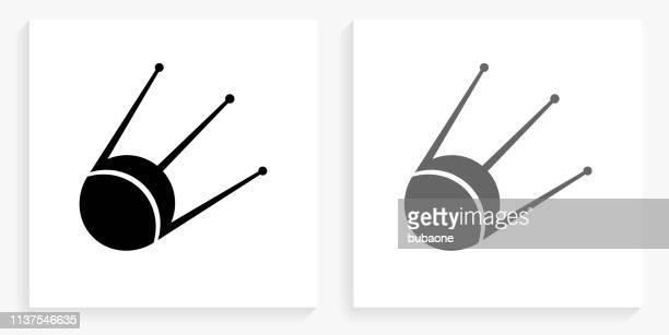 sputnik satellite black and white square icon - sputnik stock illustrations