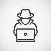 Spy agent searching on laptop. Hacker