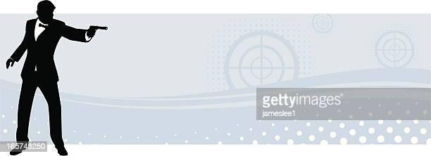 スパイバナー - タキシード点のイラスト素材/クリップアート素材/マンガ素材/アイコン素材