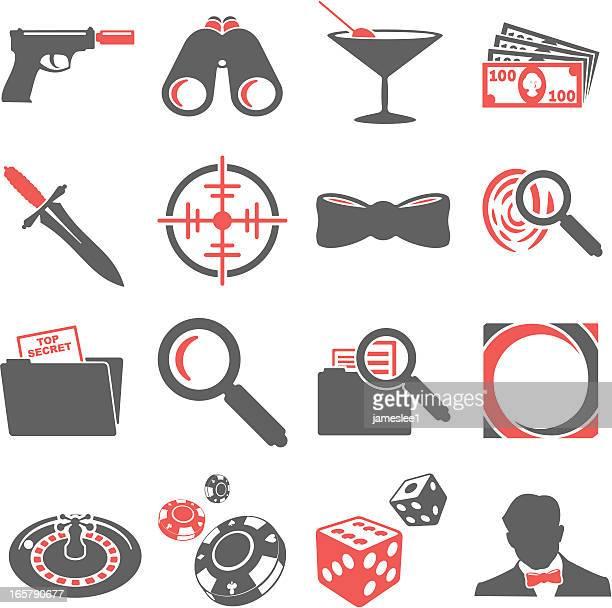 spy icons - martini stock illustrations